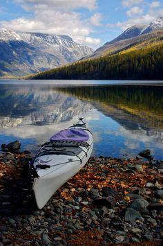 kayaking among the mountains