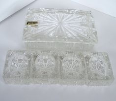 Vintage Crystal Cigarette Box with Ash Trays Colony Brand.