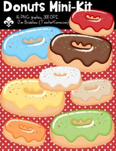 {FREE today} Donuts Mini Seller's Kit Clipart ~ Commercial Use OK