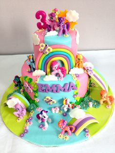 My little pony theme on a sweet pink garden theme with waterfall ! (Toys provided by customer) My Little Pony Party, Bolo My Little Pony, Mlp Cake, 3rd Birthday Cakes, Happy Birthday, Rainbow Layer Cakes, Ladybug Cakes, Cake Shapes, Girl Cakes