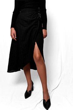 Φούστα μίντι wrap μαύρο SKI025 Vintage Skirt, Skirts, Black, Fashion, Moda, Black People, Fashion Styles, Skirt