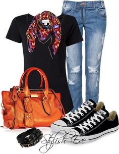 """""""Colorful Scarf Outfit !"""" by stylisheve ❤ liked on Polyvore"""