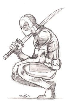 Avengers Drawings, Drawing Superheroes, Deadpool Drawings, Art Drawings Sketches Simple, Cartoon Drawings, Cartoon Art, Sick Drawings, Creepy Drawings, Pencil Drawings