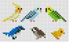 Perler Bead Templates birds perler bead pattern tiny birds that are good for Perler Bead Templates. Here is Perler Bead Templates for you. Tiny Cross Stitch, Cross Stitch Animals, Cross Stitch Charts, Cross Stitch Designs, Easy Cross Stitch Patterns, Kandi Patterns, Perler Patterns, Beading Patterns, Embroidery Patterns