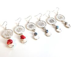 Silver Sun Charm Dangle Earrings Boho Chic Sun Gemstone Drop Earrings Tibetan…