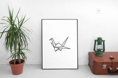 Origami Crane Poster Minimal Wall Decor Japanese by ParadigmArt
