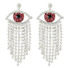 EVER FAITH® Silver-Tone Austrian Crystal Evil Eye Tassel Chandelier Earrings Clear >>> Awesome product. Click the image : Fashion Jewelry