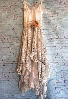 ecru soft white light grey asymmetrical crochet lace tulle off beat bride boho wedding dress by mermaid miss k