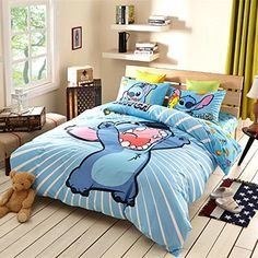 Sisbay Lilo and Stitch Bedding Twin Size,Boys Girls Cartoon Print Duvet Cover Set,Blue Striped Kids Teen Fitted Sheet >>> You can get additional details at the image link. Cute Bedding, Bedding Sets, Lelo And Stitch, Lilo And Stitch Quotes, Disney Bedrooms, Cute Room Decor, Dream Rooms, My New Room, Duvet Cover Sets