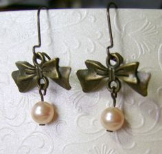 Little Ribbon Peach Drop w White Swarovski Pearl Dangling Earrings by NightLightCrafts, $12.00