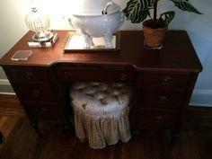 Antique Wood Vanity or Desk by NYCfurnishings on Etsy