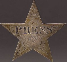 Ca. 1862-65, [Civil War press badge]  The first war in history to be covered extensively by the press, much  less to be photographed in detail, the Civil War saw the advent of the  issuance of press badges to identify the press corps and to distinguish  them from spies or civilians who had no place on the battle lines via Heritage Auctions