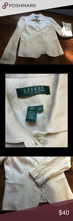 Lauren Linen Blazer Great linen blazer from an American classic brand! New without tags, awesome condition. The shell is 100% linen and the lining is 100% acetate. Lauren Ralph Lauren Jackets & Coats Blazers