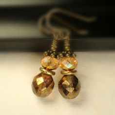 Copper Amber Earrings Swarovski Astral Pink Sunset by pink80sgirl, $24.00