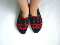 womens knit slippers dark Blue red green by AnatoliaDreams on Etsy