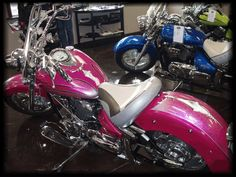"""have my motorcycle license and own a pink motorcycle. This is """"Crystal Roar"""". She is a new VStar. Pink Motorcycle, Custom Paint Motorcycle, Scrambler Motorcycle, Motorcycle Design, Motorcycle Style, Bike Design, Motorcycle License, Harley Davidson Motorcycles, Custom Motorcycles"""