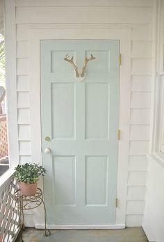 Whipped Mint Door- Sunroom Makeover - painted with Whipped Mint paint by Behr Mint Paint Colors, Exterior Paint Colors, Paint Colors For Home, House Colors, Behr Colors, Room Colors, Exterior Design, Green Front Doors, Front Door Colors