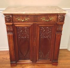 Antique Marble Top Victorian Cabinet with 1 Drawer and 2 Doors Great Carvings