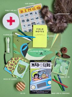 Outdoor exploring/road trip kit: Fill your kids' packs with fun things to keep them busy and exploring outside. Some things might include: first aid kit, car games, coonskin cap, field notes, flashlight, Charlie Harper coloring book of birds, deck of cards, mad libs, yo yo, and a poison ivy id card. And of course don't forget to give them a camera and a good book.