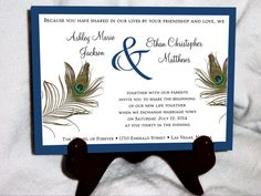 100 Peacock Feathers Wedding Invitations, RSVPs, Reception Invitations with FREE Calendar Stickers. $95.00, via Etsy.