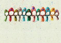 Watercolor birds by Cally Johnson-Isaacs