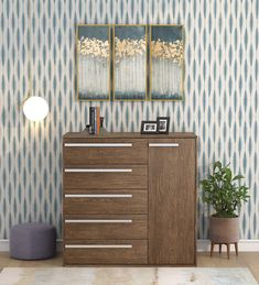 Buy Kiku Chest of 5 Drawers in Brown Finish by Mintwud Online - Contemporary Chest of Drawers - Chest of Drawers - Furniture - Pepperfry Product Solid Wood Furniture, Upholstered Furniture, Contemporary Chest Of Drawers, Wooden Storage Boxes, Storage Ideas, Types Of Cabinets, New Home Gifts, Free Baby Stuff