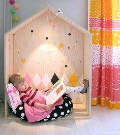 Make A Reading Nook Your Kids Will Actually Use! How cute is this!! Imagination!!  Leave as is or customize!!  Colors, fabrics, padded seat!!  Glowing stars on the 'ceiling'!! Origami stars or birds over head.   Love it!!