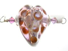 Filled Glass Heart bead pendant cubic ziconia by HollysFollyGlass, $56.00