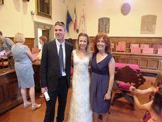 Intimate civil wedding in Arezzo, Italy. Happy bride & groom at the end of the ceremony. Wedding paperwork & legalities arranged via www.tuscantoursandweddings.com