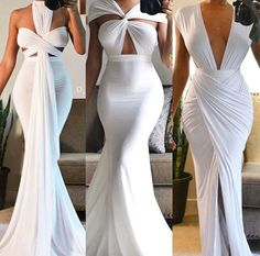Sexy White Plunging Neck Dress For Women - super cute for occasion Elegant Dresses, Sexy Dresses, Fashion Dresses, Prom Dresses, Formal Dresses, Wedding Dresses, Gown Wedding, Vestido Convertible, Mode Style