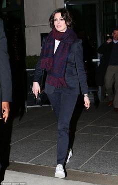 Anne Hathaway wearing Adidas Originals Stan Smith Fairway, Alexander McQueen Upside-Down Skull Muffler Scarf and Valentino Logo-Go Small Calfskin Crossbody Bag