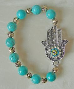 Antique Silver Hamsa Hand Bracelet Turquoise by BuckleXpressions