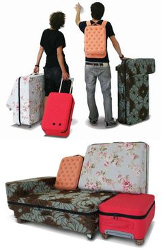"""suited case"" Dutch Design Week 09: in Eindhoven this week graduate designer Erik De Nijs of Nieuwe Heren presents a set of suitcases that can be combined to form a sofa. makes a layover much more comfy"