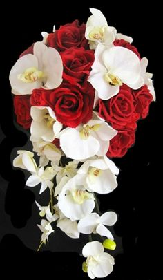 Cascade Bouquet of Red Roses & Off White Orchids. GORGEOUS!