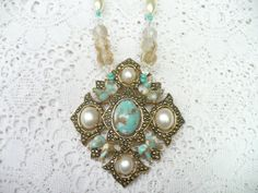 OOAK Vintage Signed Turquoise/Faux Pearl Gold Tone Necklace Assemblage- repurposed brooch- beaded necklace - Signed designer piece - 19 inch