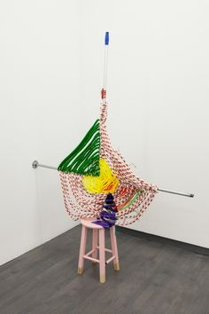 "JESSICA STOCKHOLDER ""Compound Eye"" 2014 wood stool, rope, steel pipe, aluminum handle, paint, dowels, zip ties 78.5"" x 60"" x 12"""