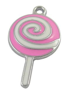 4 Silver Metal Enamel Pink and White LOLLIPOP CANDY Charms by SmartParts, $4.29