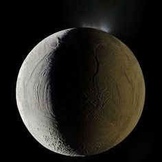 Enceladus and its geysers photographed by the Cassini spacecraft. Credit NASA