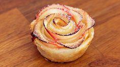 Apfel-Blätterteig-Rosen Rezept als Back-Video zum selber machen! Ganz einfach Schritt für Schritt erklärt!