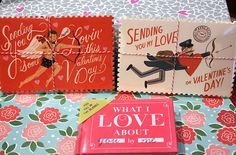 Packs of Valentine's Day postcards and What I Love About You by Me fill in the blanks book. All perfect gifts for the person you love!
