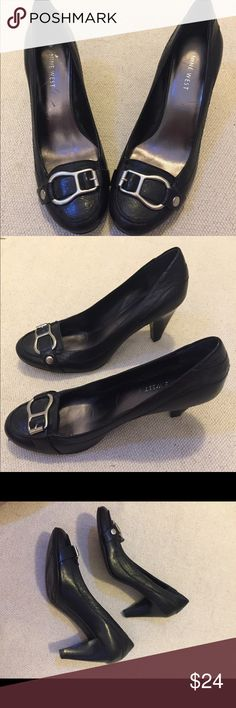 Nine West Black Buckle Dress Shoes 3 inch heels. Black Leather with silver colored buckle. Nine West Shoes Heels