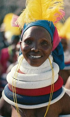 "Africa | Portrait of a Bantwane woman. South Africa | Scan of photograph by Peter Magubane on page 89 of the publication ""African Heritage ~ Arts & Crafts"""