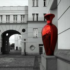 Large red urn