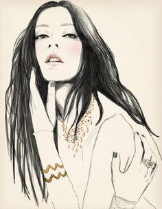 Sandra Suy Fashion Illustrations: Line Art & Detailed Textures=Gorgeous… Beauty Illustration, Fashion Illustration Sketches, Fashion Sketchbook, Fashion Sketches, Clothing Sketches, Megan Hess, Art Girl, Line Art, Amazing Art
