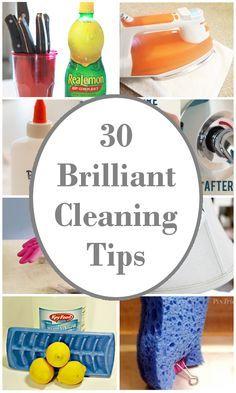 http://diyhshp.blogspot.com/2015/06/30-brilliant-cleaning-tips.html?utm_source=feedburner