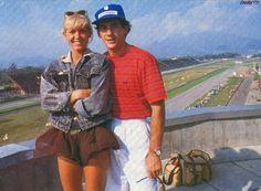 Ayrton Senna & his girlfriend Xuxa, who many said was the big love of his life, at the Brazilian GP 1989, Jacarepagua
