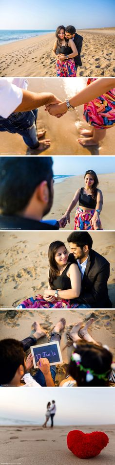 Save the date Goa Beach Pre wedding Couple shoot. Cute poses, props, . Engagement shoot by the water