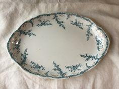 Rare 1897 Syracuse China O.P. Co. /  Large Oval Serving Platter / Vitreous China / Blue and White by SunshineVintageGoods on Etsy