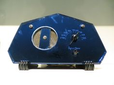 VINTAGE 1930s OLD WALTER TEAGUE COBALT BLUE MIRROR SPARTON ART DECO TUBE RADIO !