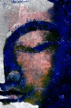 prints on steel Characters buddha face blue painting digital art abstract modern head wellness silent eyes clothed